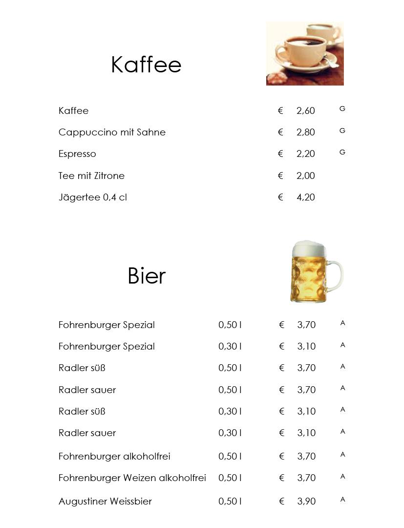 Heisse Getränke und Bier 2019-07-25