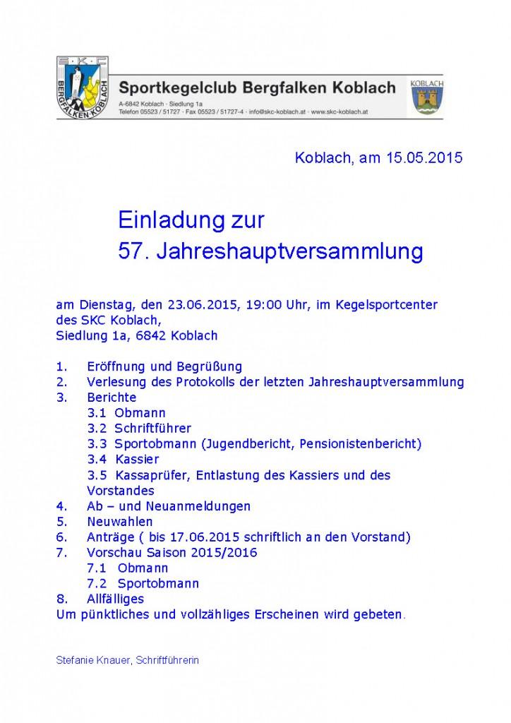 Einladung 57. JHV Koblach