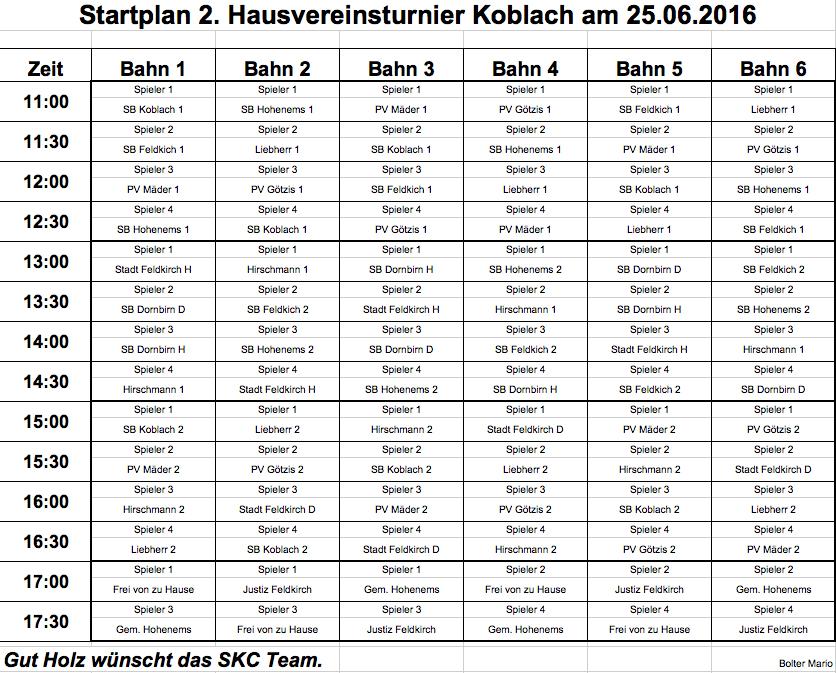 Startplan 2. Hausvereinsturnier